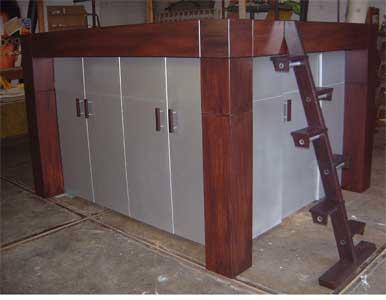Hoogslaper Met Kastruimte : Zon steigerhout hoogslaper met bureau en kast alexander